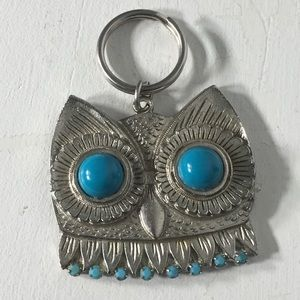 Vintage Owl Turquoise Color Silver Tone Key Chain